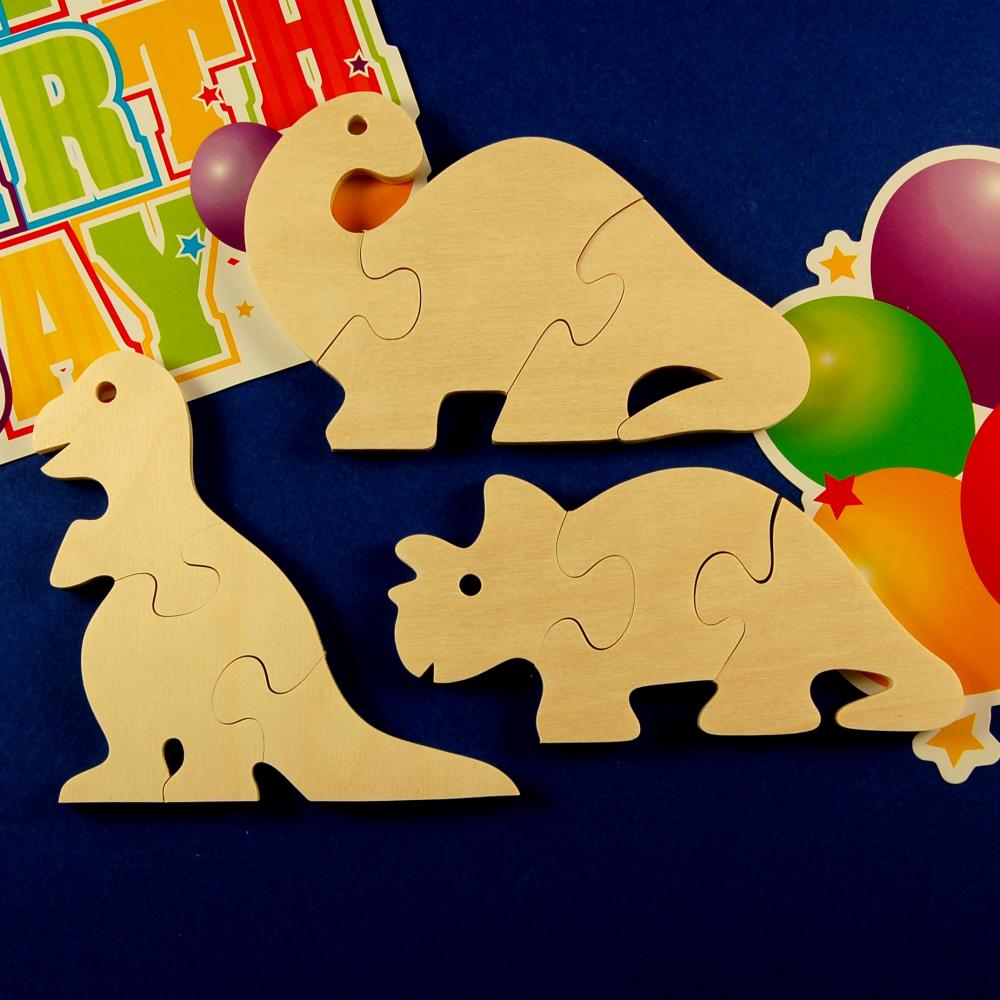 Dinosaur Party Favors - Package of 12 Wooden Puzzles