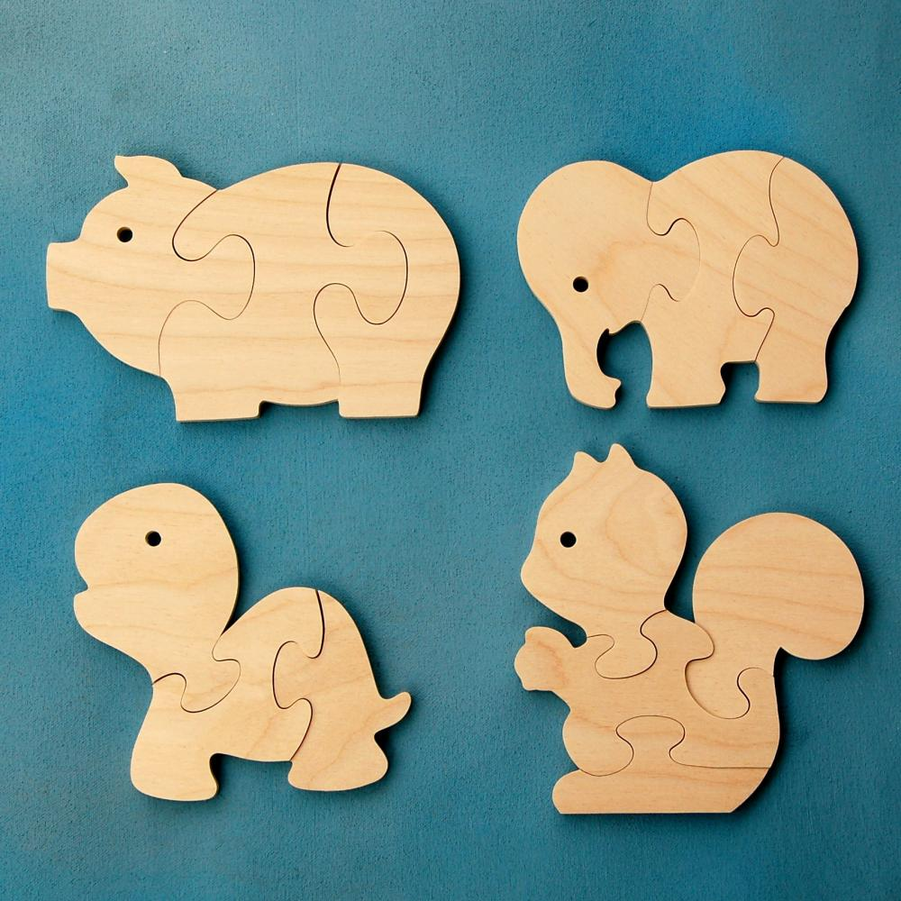 Wood Puzzle Party Favors - Fun Animals - Package of 12 Wooden Jigsaw Puzzles